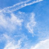 stock photo of stratus  - stratus clouds in blue sky under Paris in March - JPG