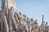 pic of zedong  - Revolutionary statues in front of Mausoleum of Mao Zedong at Tiananmen Square in Beijing China - JPG