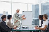 pic of concentration man  - Businessman in front of a growing chart during a meeting with concentrated colleagues - JPG