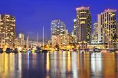 pic of waikiki  - The city lights of Waikiki shine at night near Ala Wai Boat Harbor on Oahu - JPG