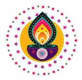 pic of kolam  - Colorful Indian pattern oil lamp design illustration - JPG