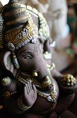 picture of ganesh  - a ganesh hindu god statue within old temple - JPG