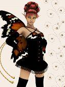 picture of bambi  - Beautiful fairy in pixy outfit with butterfly wings - JPG