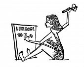 image of cave woman  - Cave Woman Writing Memo  - JPG