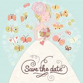 Cute romantic wedding invitation card with beautiful bride and butterflies. Vector save the date bac