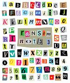 image of hash  - Vector cut newspaper and magazine letters numbers and symbols - JPG