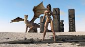 stock photo of woman dragon  - warrior girl and dragon - JPG