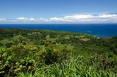 image of twisty  - Maui coastline with blue skies and lava rocks