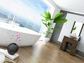 picture of window washing  - Modern Bathroom interior with white bathtub against huge window with landscape view - JPG