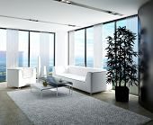 picture of curtain  - Modern white living room with huge windows and curtains - JPG