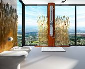 Awesome nature style bathroom interior with shower cubicle and toilet. Room is decorated with reeds