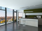 image of stool  - Modern white and green kitchen interior with two bar stools - JPG