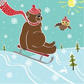 stock photo of toboggan  - One brown bear sledding with mountain nature - JPG