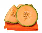 foto of cantaloupe  - cantaloupe on napkin isolate on white background - JPG