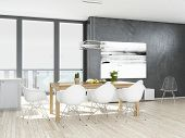 Modern white kitchen interior with wooden floor