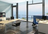 stock photo of premises  - Modern office interior with spledid seascape view - JPG