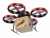 stock photo of drone  - 3D drone delivering a package - JPG