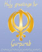 pic of sikh  - an illustration of a punjabi  greeting card to celebrate the gurus birthday with golden lettering and sikh symbol on a starry blue background - JPG