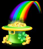 image of end rainbow  - Cartoon green St Patrick - JPG