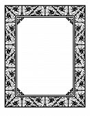 image of scrollwork  - Black and white scrollwork and leaf frame for photo painting or ad border - JPG