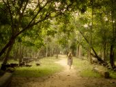 stock photo of ethereal  - Young woman in dress walking barefoot on a mysterious path into an enchanted forest - JPG