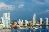 pic of medellin  - View of the marina and tall apartment buildings in the modern section of Cartagena Colombia - JPG