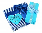 foto of stereotype  - Happy Fathers Day tag with gift boxes - JPG