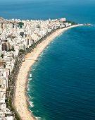 image of ipanema  - Aerial View of Ipanema and Leblon Beach from the Mountain in Rio de Janeiro - JPG