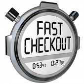 Fast Checkout words on a stopwatch or timer to record how quickly you can complete a purchase proces