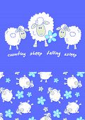 stock photo of counting sheep  - Counting sheep falling asleep with a matching print - JPG