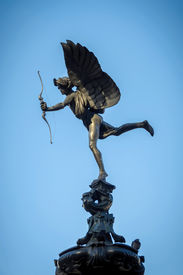 stock photo of ero  - Eros Statue at Piccadilly Circus in London - JPG