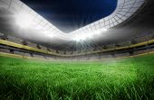 foto of football pitch  - Digitally generated football pitch in large stadium - JPG