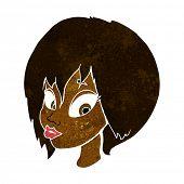 stock photo of pouting  - cartoon pretty female face pouting - JPG
