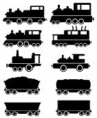 stock photo of railroad car  - set black train and railroad car silhouette - JPG