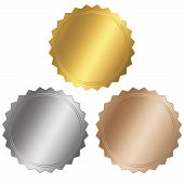picture of certificate  - blank certificate Set gold silver and bronze - JPG