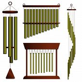 image of chimes  - Set of four brass wind chimes on white - JPG