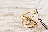 image of sundial  - Sundial in the sand - JPG