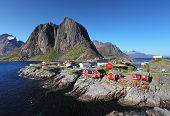 picture of reining  - Norway village Reine at day with mountain - JPG