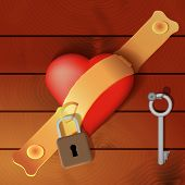 image of hasp  - Heart secured by a hasp with wooden background  - JPG
