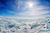 picture of frozen  - ice hummock at frozen baikal lake in winter - JPG