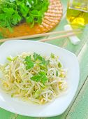 foto of soybean sprouts  - salad with bean sprouts on the plate - JPG
