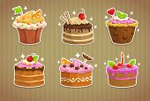picture of fancy cakes  - Sweet cake stickers with sparkles - JPG
