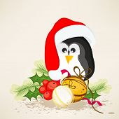 picture of ball cap  - Cute penguin in Santa cap with X - JPG