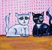 Gatos bonitos Folk Art