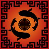 stock photo of koi fish  - Traditional Asian red and black koi carp fish and knot frame background - JPG