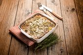 stock photo of chicory  - flan with potatoes and red chicory - JPG