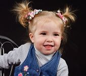 picture of ponytail  - portrait of little girl with ponytail hairstyle - JPG