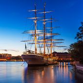 stock photo of tall ship  - Scenic summer evening view of the Old Town  - JPG