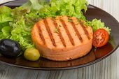 pic of crab-cakes  - Grilled Fish cakes in the bowl with salad leaves - JPG