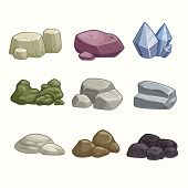 foto of magma  - Set of cartoon vector stones and minerals - JPG